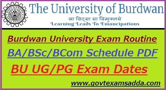 Burdwan University Routine 2019-20 BA B Sc B Com Exam Schedule