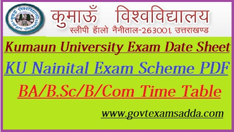 Kumaun University Exam Date Sheet 2019