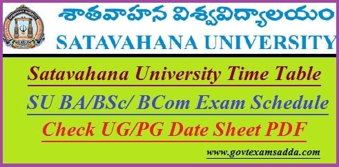 Satavahana University Time Table 2021