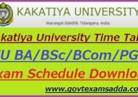 Kakatiya University Time Table 2021