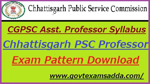 CGPSC Assistant Professor Syllabus 2019