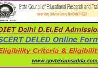 DIET Delhi D.El.Ed Admission 2019
