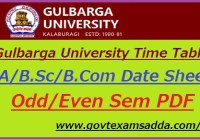 Gulbarga University Time Table 2019