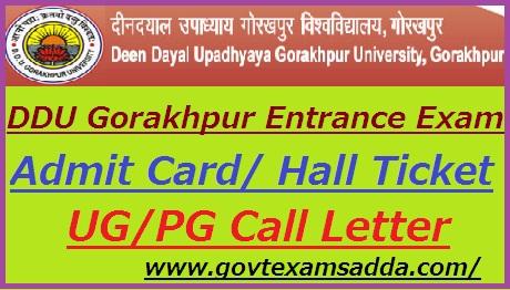 DDU Gorakhpur University Entrance Exam Admit Card 2021