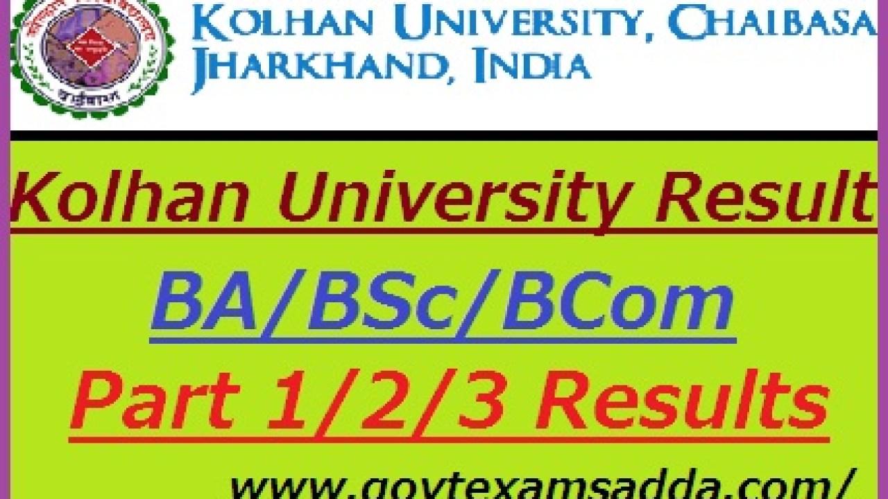 Kolhan University Result 2019 BA B Sc B Com Part 1/2/3