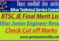 BTSC Bihar Junior Engineer Result 2021