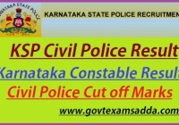 KSP Civil Police Constable Result 2020