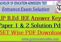 UP B.Ed JEE Answer Key 2020