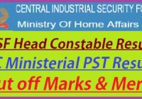 CISF Head Constable Ministerial Result 2019