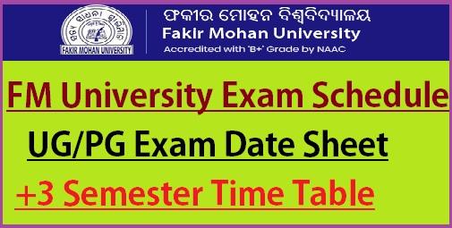 Fakir Mohan University Exam Schedule 2021