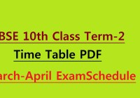 CBSE 10th Term 2 Time Table 2022