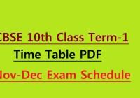 CBSE 10th Class Term 1 Time Table 2021