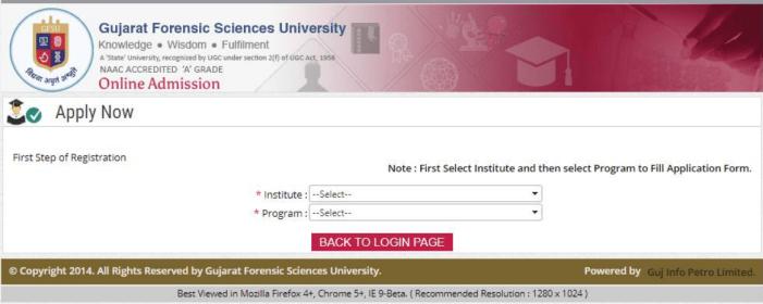 gfsu admission Courses