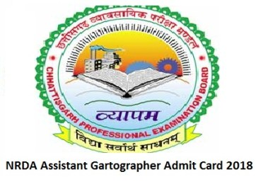 NRDA Assistant Gartographer Admit Card 2018