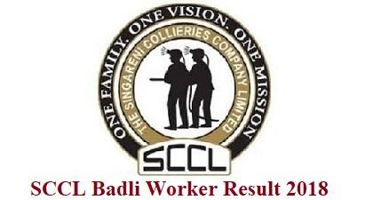 SCCL Badli Worker Result 2018