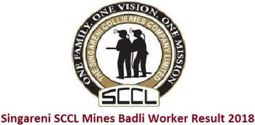 Singareni SCCL Mines Badli Worker Result 2018