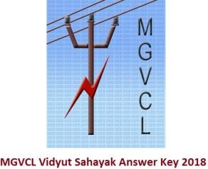 MGVCL Vidyut Sahayak Answer Key 2018