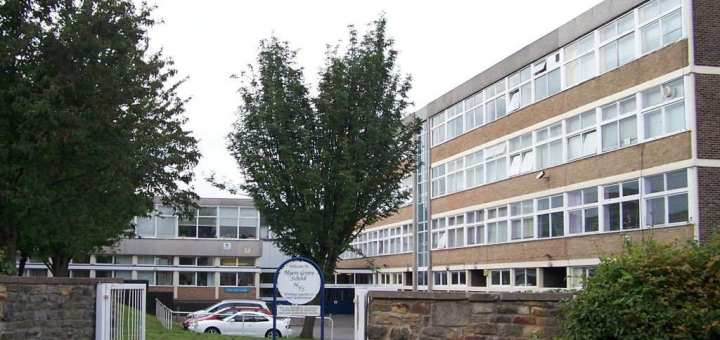 Front of 70s secondary school building with trees
