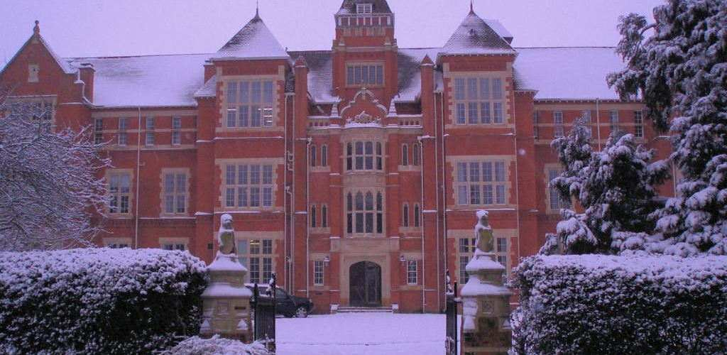 Front of Warwick private school in snow