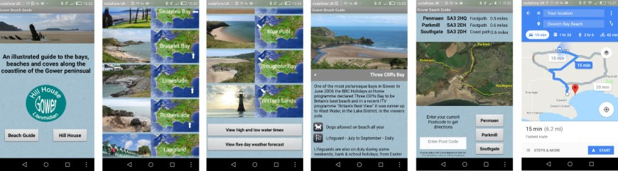 Gower Beach Guide smartphone App - Screenshots