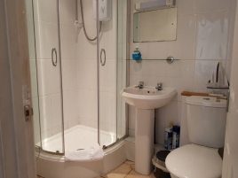 The shower room at Sea Breeze Apartment 1, Horton, Gower Peninsula