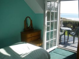 Bedroom balcony with sea views at Hollies holiday cottage, Horton, Gower