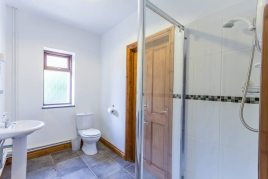 The en-suite shower room at The Barn self-catering accommodation, Llethryd, Gower Peninsula