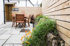 The rear courtyard at The Bower Cottage self-catering accommodation, Port Eynon, Gower