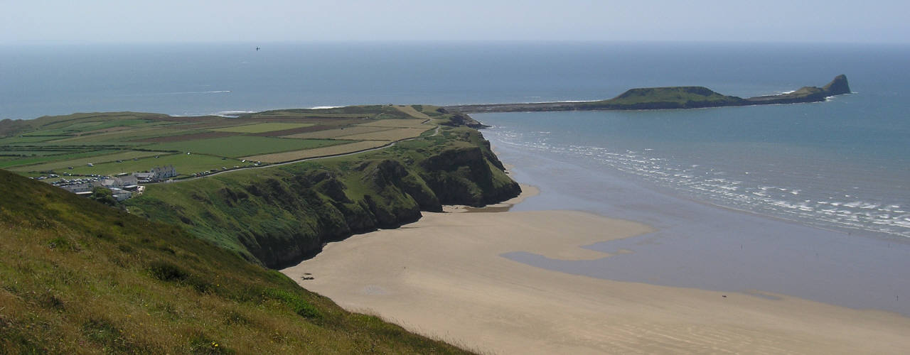 Rhossili village and Worms Head, Gower