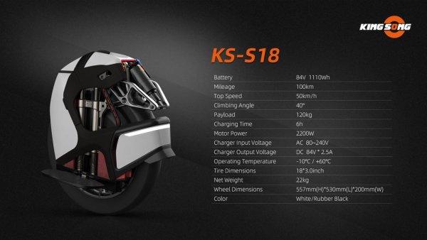 KS S18 Spec sheet