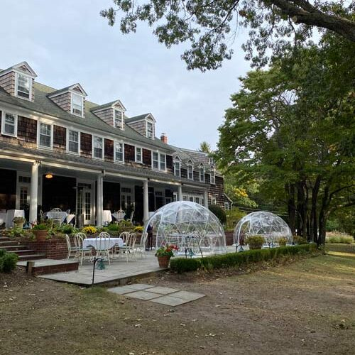 Rams Head Inn igloos for socially distanced and most-weather dining.