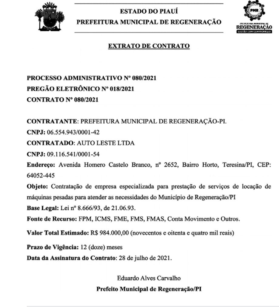 Prefeito de Regeneração aluga máquinas por R$ 984 mil