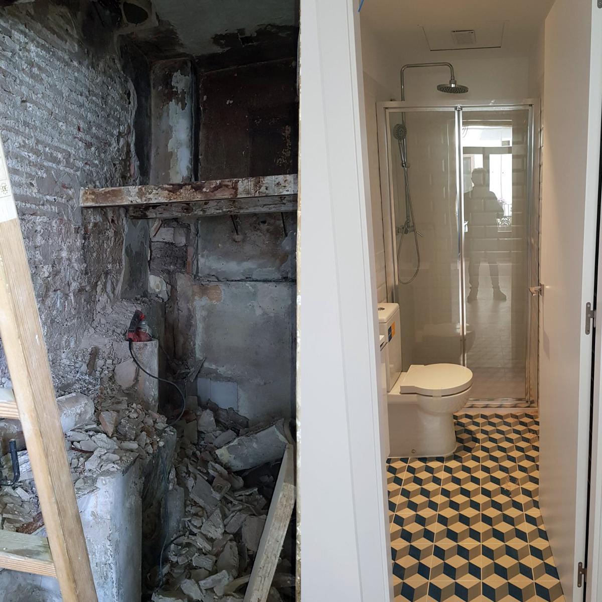 Estado actual y reformado, Arquitectura Interior, rehabilitación íntegra en Valencia, GP Creative Thinking