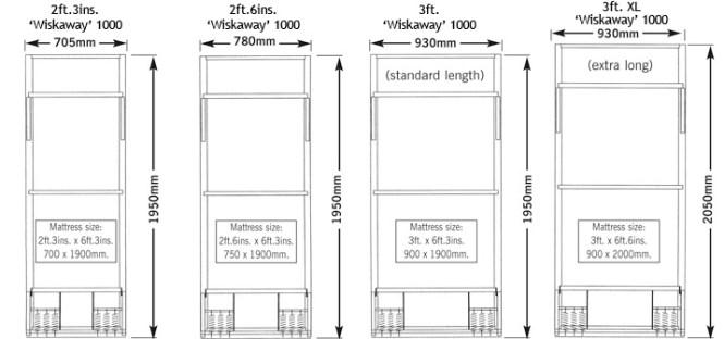 Wiskaway 1000 Wallbed Standard Single Sizes