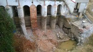 Démolition de la zone de prise d'eau