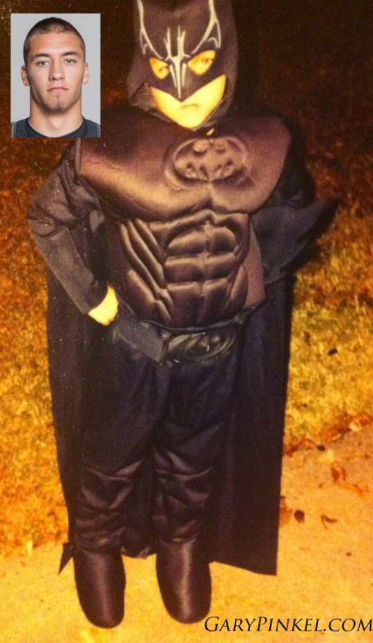 Mizzou Wide Receiver Levi Copelin dressed up as a big, buff Batman one year.