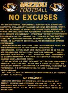 Mizzou Football No Excuses
