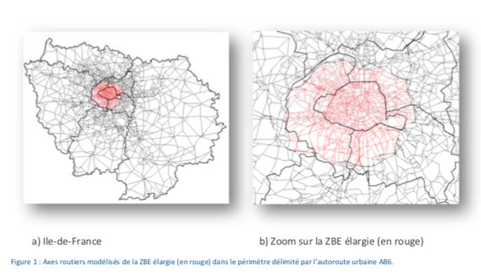 Axes routiers modélisés de la ZFE du Grand Paris
