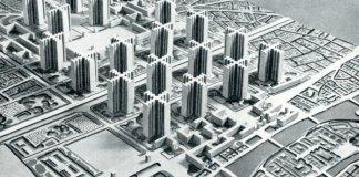 Maquette des gratte-ciels prévus par Le Corbusier dans son projet d'urbanisme pour la rive droite de Paris.