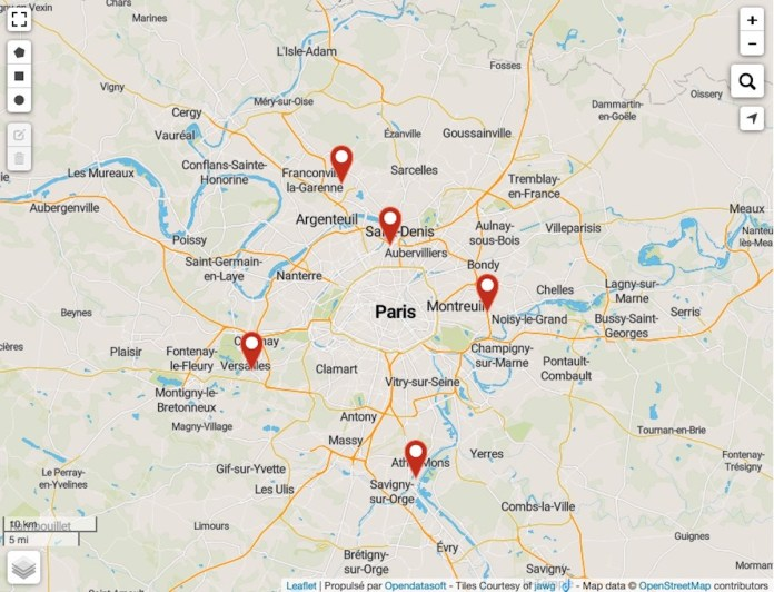 Carte interactive des centres de dépistage antigéniques