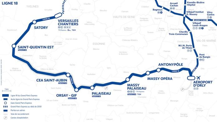 Carte ligne 18 grand paris express