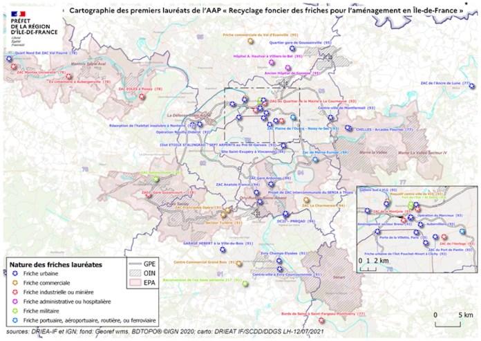 Carte des projets de recyclage des friches franciliennes