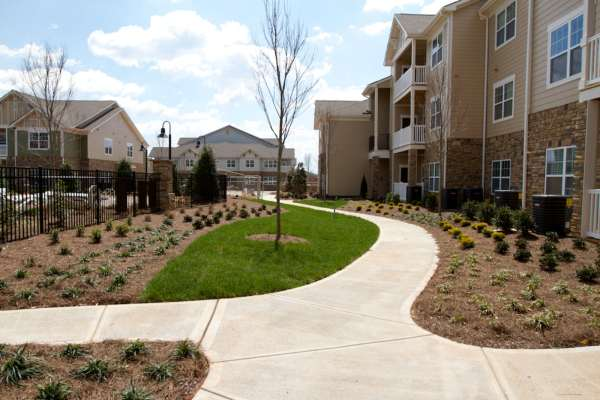 apartment complex with new landscaping
