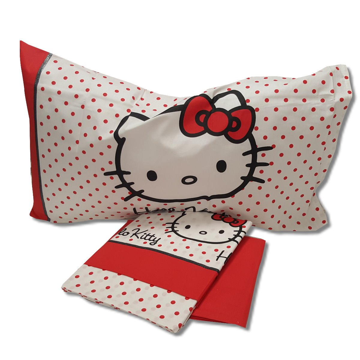 Completo Letto Singolo Polka Dot Hello Kitty