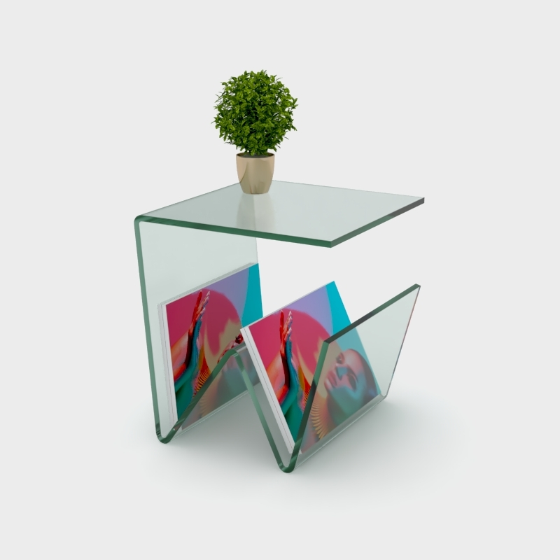 12mm silicon glass effect prestige acrylic lamp table with magazine rack