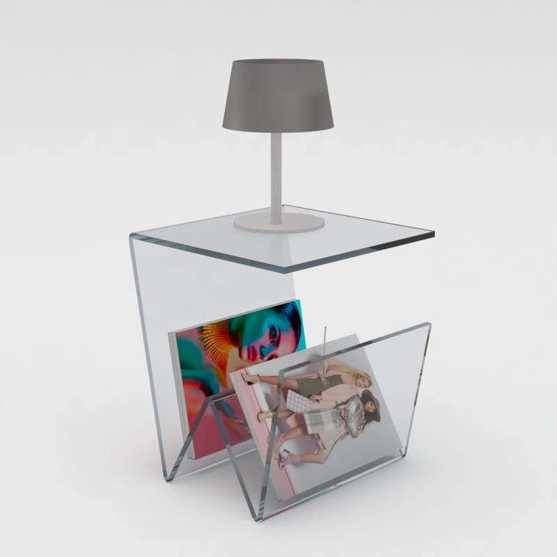 10mm clear acrylic lamp table magazine rack