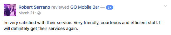 Very friendly, courteous and efficient GQ Mobile Bar Staff