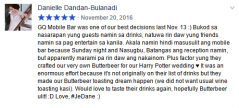 Wedding Mobile Bar Testimonials | GQ Mobile Bar Philippines: GQ Mobile Bar was one of our best decisions last Nov. 13.
