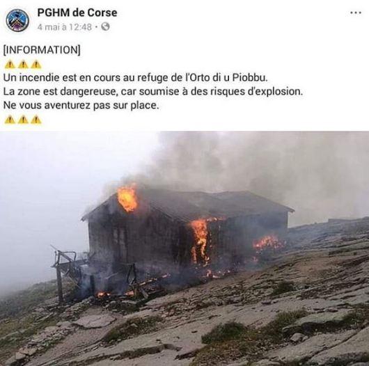 Refuge Ortu di u Piobbu détruit par un incendie - Mai 2019