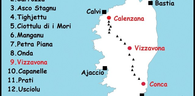 carte GR20 Corse étapes et refuges